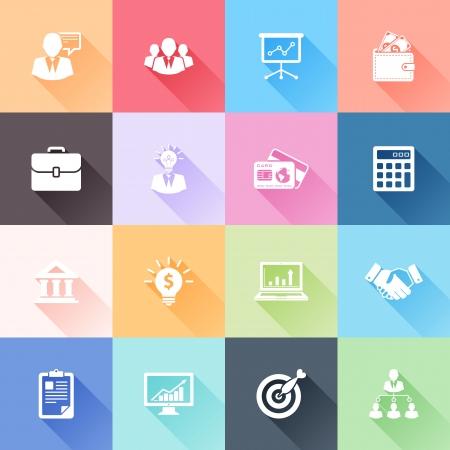 biznes: Wektor zestaw 16 płaskich ikon biznesowych z długim cieniem Ilustracja