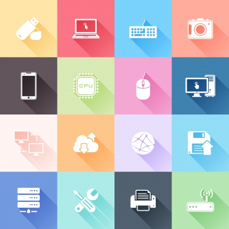 electronic devices: Vector set of 16 flat technology icons with long shadow