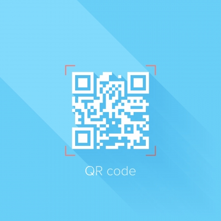 Flat design concept of QR code with long shadow. Vector