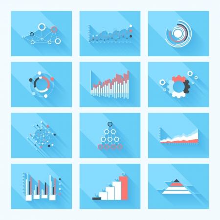 big: Elementos del dise�o. Ilustraci�n del vector de infograf�a de negocio. Conjunto de infograf�a 3D con sombra larga.