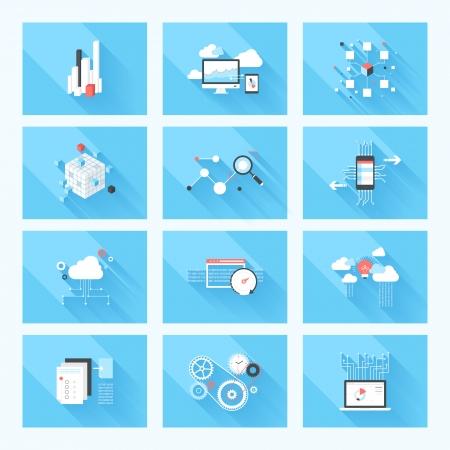 Vector illustration concept d'optimisation de référencement, l'analyse de données et le stockage, le cloud computing et le programme de codage isolé sur fond bleu avec de longues ombres.