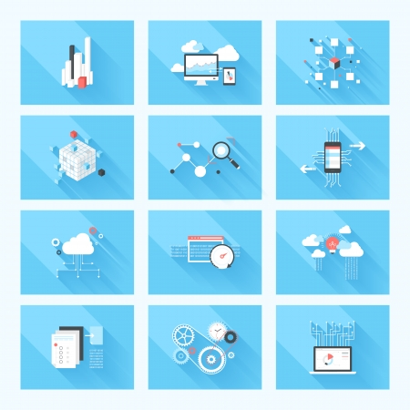 cloud computing: Vector illustration concept of SEO optimization, data analysis and storage, cloud computing and program coding isolated on blue background with long shadow.