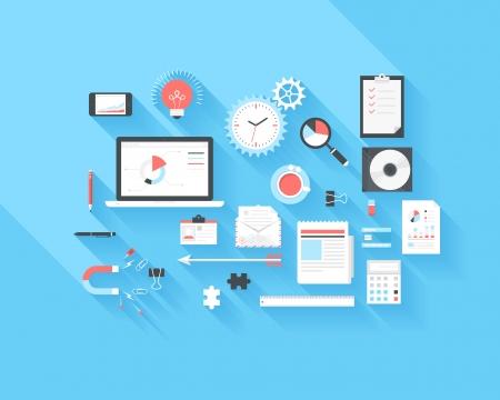 bureau design: Vecteur de collecte des entreprises et des ic�nes de bureau plats modernes et branch�s sur fond bleu avec de longues ombres.