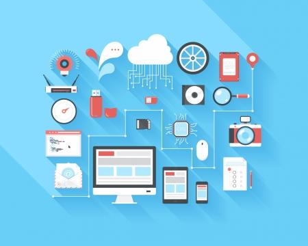 documentos: Ilustraci�n vectorial concepto de la optimizaci�n SEO, an�lisis y almacenamiento de datos, computaci�n en nube, las redes sociales y el programa de codificaci�n aislados sobre fondo azul con una larga sombra.