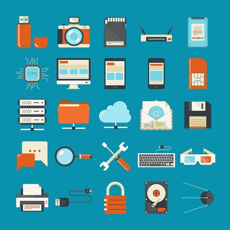 hardware icon: Vector collection of retro styled flat technology icons.