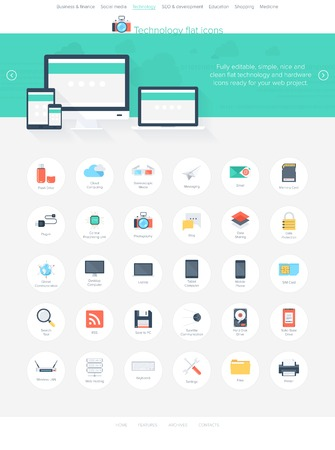plugin: Vector collection of modern, simple, flat and trendy technology icons. Easy to edit web template for your project. Illustration