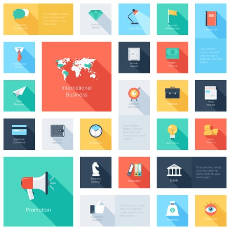 card file: Vector collection of colorful flat business and finance icons with long shadow. Design elements for mobile and web applications. Illustration