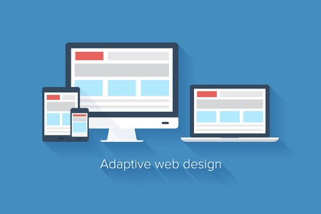 adaptive: Vector illustration of adaptive web design on different electronic devices