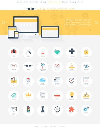Vector illustration of modern, simple and flat search engine optimization icons. Design elements for mobile and web applications. Easy to edit web template for your project. Vector
