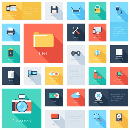 security search: Vector collection of colorful flat technology and multimedia icons with long shadow. Design elements for mobile and web applications.