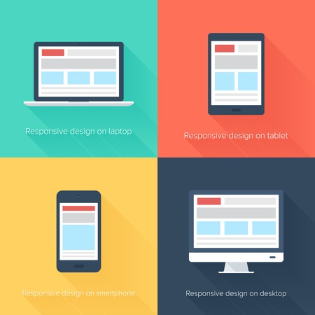 electronic devices: Vector illustration of adaptive web design on different electronic devices