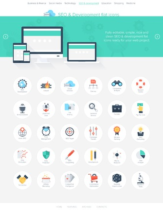 global settings: Vector illustration of modern, simple and flat search engine optimization icons. Design elements for mobile and web applications. Easy to edit web template for your project.