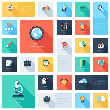 copywriting: Vector collection of colorful flat search engine optimization icons with long shadow. Design elements for mobile and web applications.