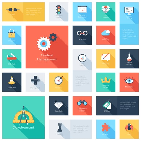 lock: Vector collection of colorful flat search engine optimization icons with long shadow. Design elements for mobile and web applications.
