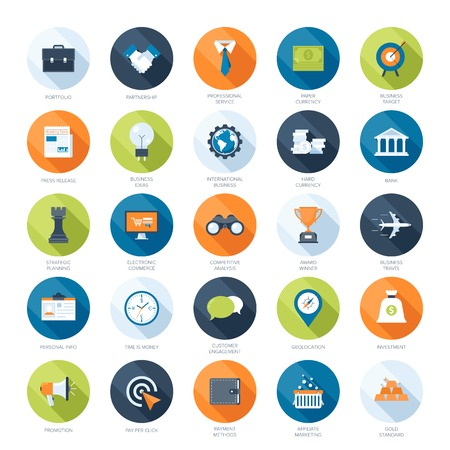 Vector collection of colorful flat business and finance icons with long shadow. Design elements for mobile and web applications. Vector