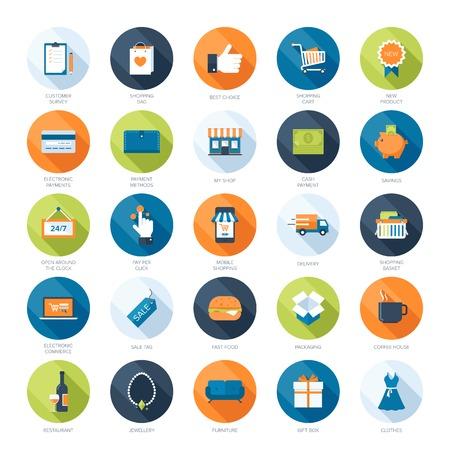 Vector colección de iconos de compras modernos planos y de colores con sombra larga. Elementos de diseño para aplicaciones móviles y web.