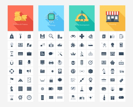 Vector collection of flat and simple web icons on SEO, business, shopping and technology theme. Design elements for mobile and web applications.