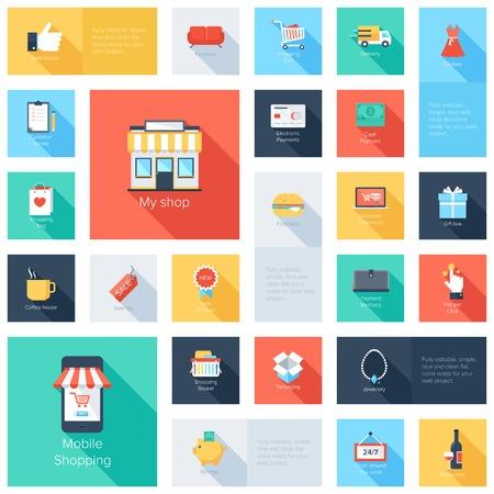 negozio: Insieme vettoriale di moderne piatte e colorate icone dello shopping con una lunga ombra. Elementi di design per applicazioni mobili e web.