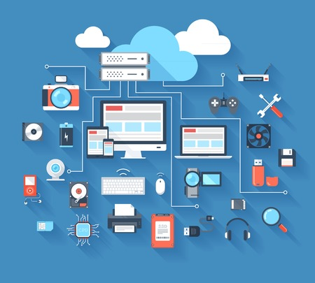 Ilustración vectorial de hardware y el concepto de cloud computing sobre fondo azul con una larga sombra.