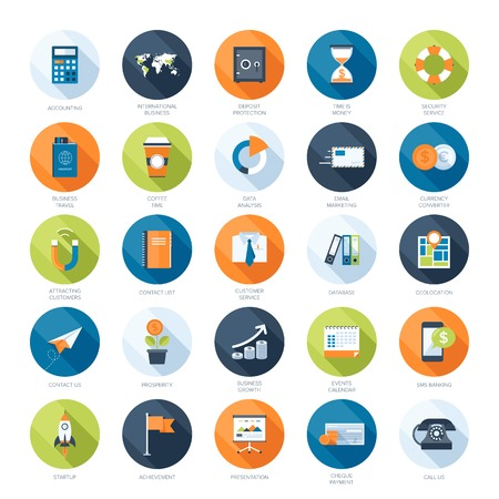 Vektor-Sammlung von bunten Flach Geschäfts-und Finanzikonen mit langen Schatten. Design-Elemente für mobile und Web-Anwendungen. Standard-Bild - 27493505