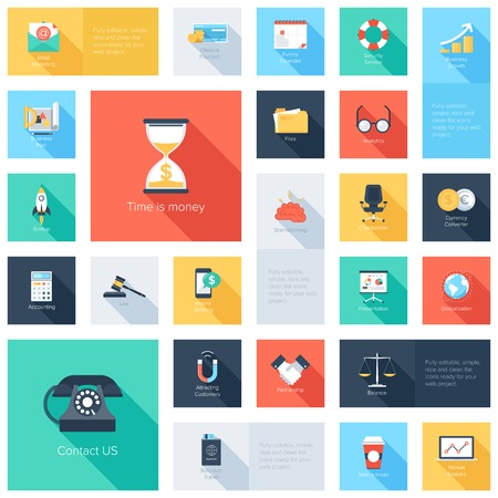 calculator: Vector collection of colorful flat business and finance icons with long shadow. Design elements for mobile and web applications. Illustration