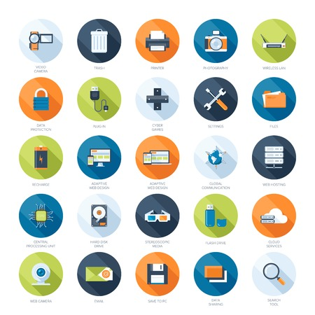 global settings: Vector collection of colorful flat technology and multimedia icons with long shadow. Design elements for mobile and web applications.