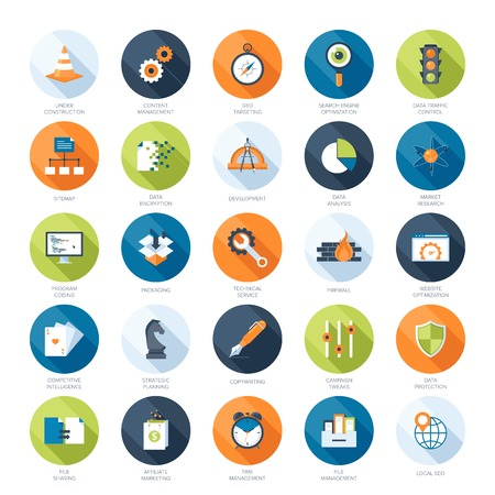 계시기: 벡터 긴 그림자와 함께 다채로운 평면 검색 엔진 최적화 아이콘의 컬렉션입니다. 모바일 및 웹 응용 프로그램의 요소를 디자인합니다.