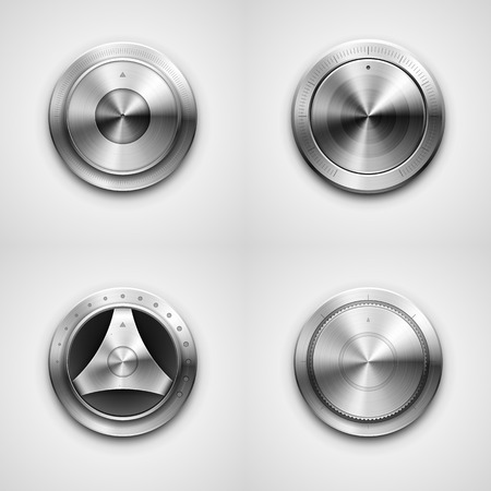 chrome button: High detailed vector illustration of metallic knobs.