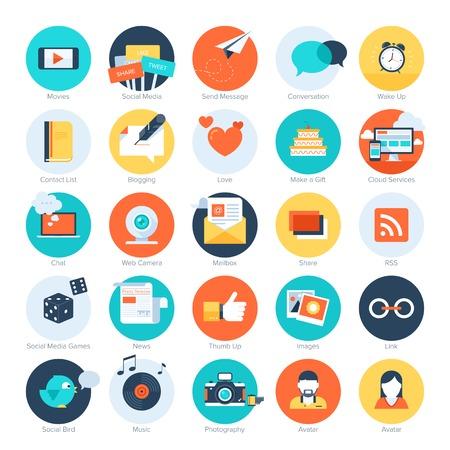 personas platicando: Vector conjunto de modernos iconos de redes sociales planas y coloridas. Elementos de diseño de aplicaciones web y móviles. Vectores