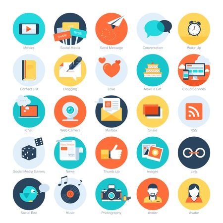 like button: Vector set of modern flat and colorful social media icons. Design elements for web and mobile applications.