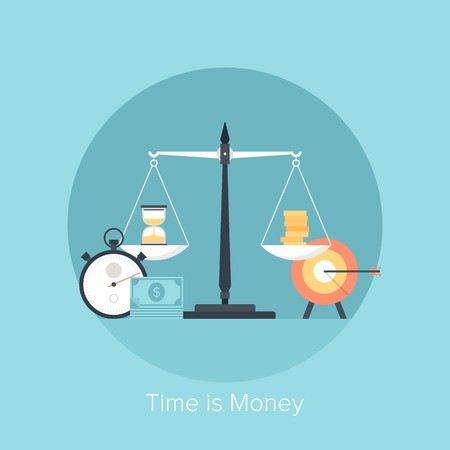 timer: Vector illustration of time is money flat design concept isolated on blue background. Illustration