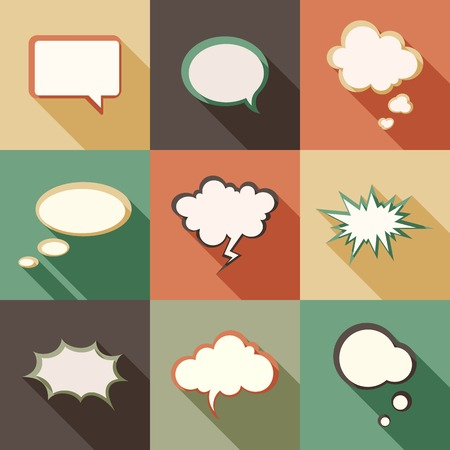 Vector set different retro styled speech bubbles. Vector