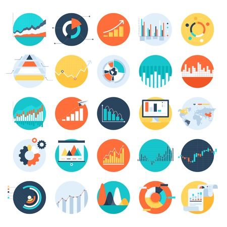 chart vector: Vector set of flat business chart icons