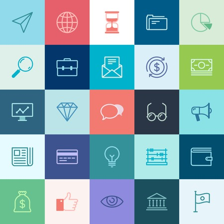 news paper: Vector collection of simple thin business and finance icons.