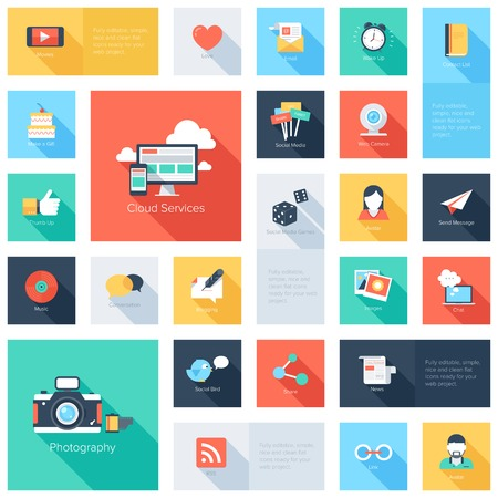 Vector set of modern flat and colorful social media icons with long shadow. Design elements for web and mobile applications. Vector