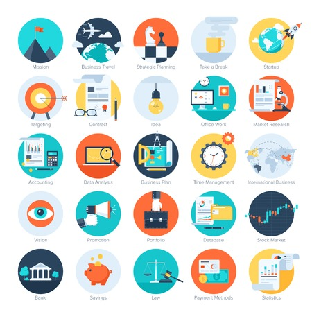 target market: Vector collection of colorful flat business and finance icons. Design elements for mobile and web applications.