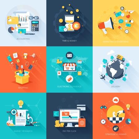 Vector colección de conceptos de negocios y finanzas planos y colores con sombra larga. Elementos de diseño de aplicaciones web y móviles. Ilustración de vector