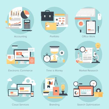 investigando: Vector conjunto de conceptos planas y colores en los negocios y las finanzas, el comercio electr�nico, marketing, comercial, la marca, los servicios en nube y el tema SEO. Elementos de dise�o de aplicaciones web y m�viles. Vectores