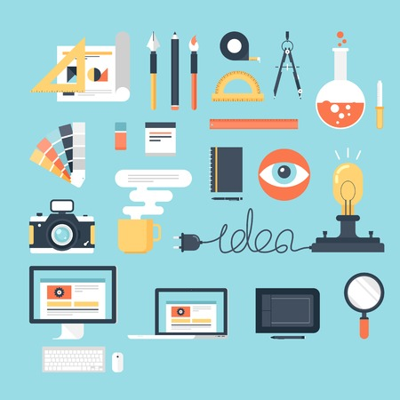 creative tools: Abstract flat vector illustration of design and development tools. Elements for mobile and web applications.