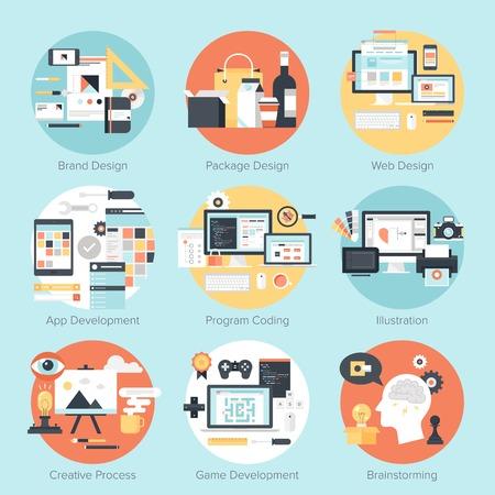 merken: Abstracte platte vector illustratie van ontwerp en ontwikkeling concepten. Elementen voor mobiele en web applicaties. Stock Illustratie