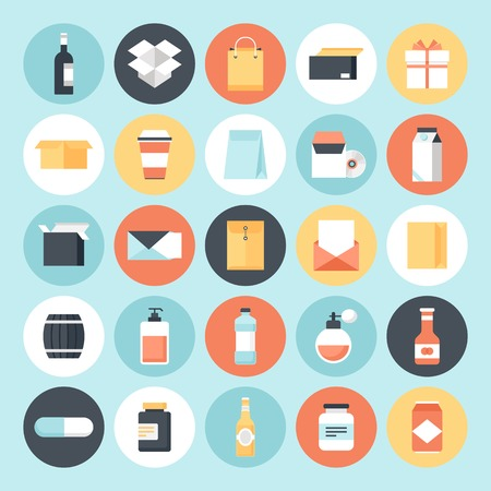 juice bottle: Abstract flat vector package icons. Design elements for mobile and web applications.