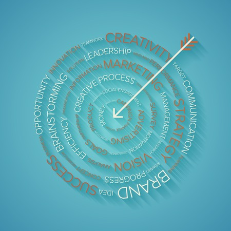 background vintage: Abstract vector illustration of business target made of words with long shadow. Illustration