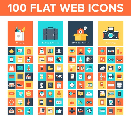 icon set: verzameling van platte en kleurrijke web pictogrammen Stock Illustratie