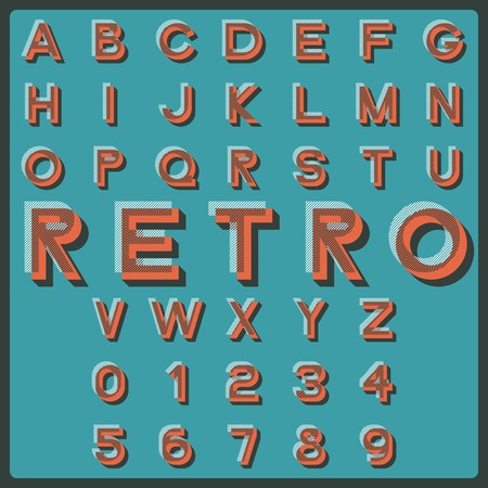 Design elements illustration of retro styled letters. Vector