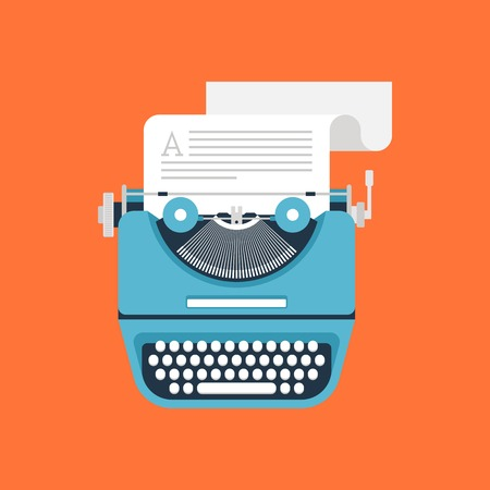 tell stories: illustration of flat vintage typewriter isolated on orange background.