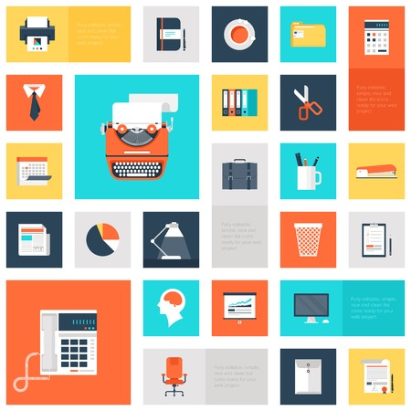 news icon: collection of colorful flat office and business icons.