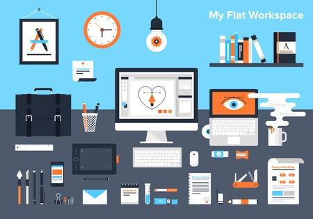 Flat illustration of designers workplace. Illustration