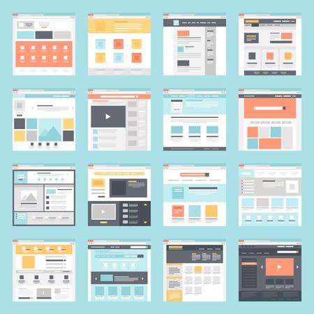 collezione di modelli di siti web piatte su sfondo blu.