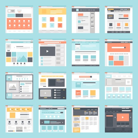 template: verzameling van platte website templates op een blauwe achtergrond. Stock Illustratie