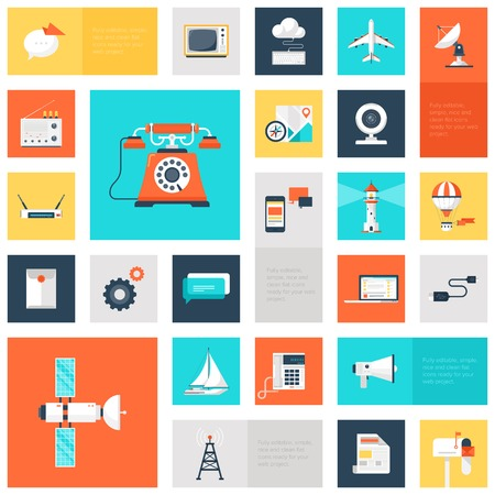 collection of colorful flat communication icons.